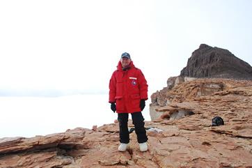 Steve Emslie on Finger Mountain, Dry Valleys, Antarctica