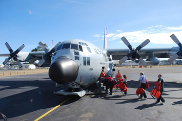 Boarding the LC 130 in Christchurch