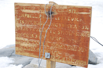sign at snow cave